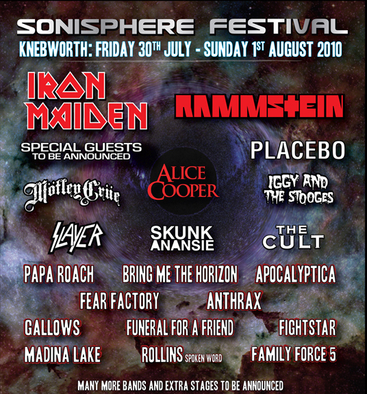Sonisphere 2010 - March Line Up Poster