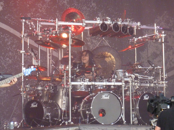 Mike Mangini of Dream Theater on stage at High Voltage
