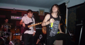 Austin and Joe From Rise To Remain on stage in Cambridge At The Portland Arms