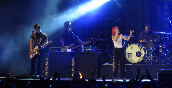 Paramore on stage at the O2 Arena in London November 2010
