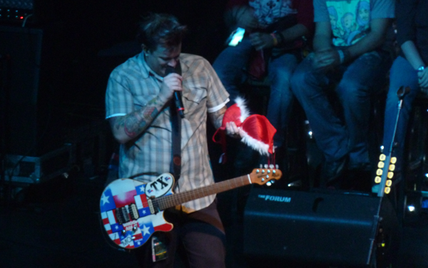 Jaret Reddick from Bowling For Soup on stage in Kentish Town with an Xmas bra