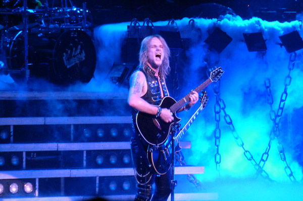 Richie Faulkner of Judas Priest on stage at the Hammersmith Apollo, London, May 2012
