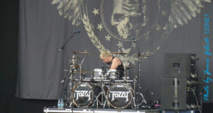Fozzy Drummer Frank Fontsere on stage at Download 2012