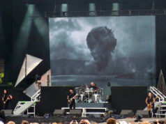 Trivium on stage at Download 2012