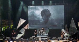 Trivium on stage at Download 2012