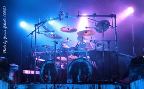 Casey Grillo of Kamelot on stage at London's Kentish Town Forum, November 2012