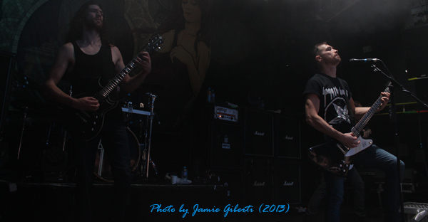 Josh & Bailey of Sylosis on stage at Islington Academy, January 2013
