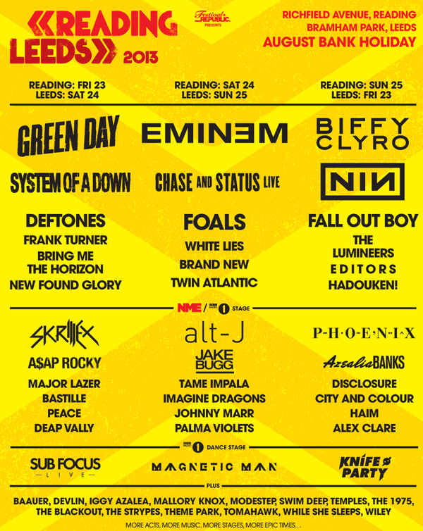 Reading and Leeds 2013 Poster showing acts appearing at the festivals