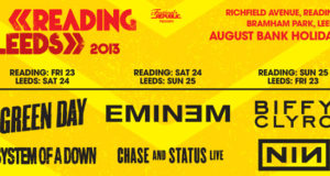 Part of the Reading & Leeds Festival 2013 lineup poster showing the headliners