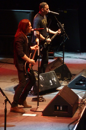 Alter Bridge's Mark Tremonti and Myles Kennedy on stage at Wembley Arena October 2013