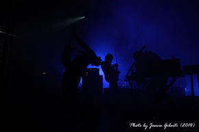Three members of Cult Of Luna performing at Beyond The Redshift Festival in London, May 2014