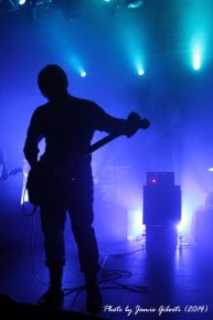 Johannes Persson of Cult Of Luna shrouded in lighting, performing at Beyond The Redshift Festival in London, May 2014