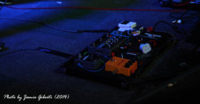 Sleepmakeswaves sound effects pedal board. Beyond The Redshift Festival 2014 in London