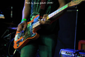 Deej Dhariwal of Thought Forms' guitar close up, Beyond The Redshift Festival 2014
