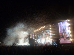 Confetti at the end of Aerosmith's set at Download Festival 2014
