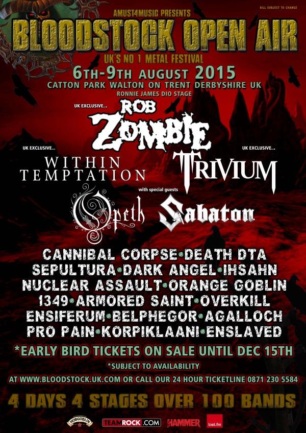Bloodstock Open Air 2015 Festival poster 9 Dec 2014