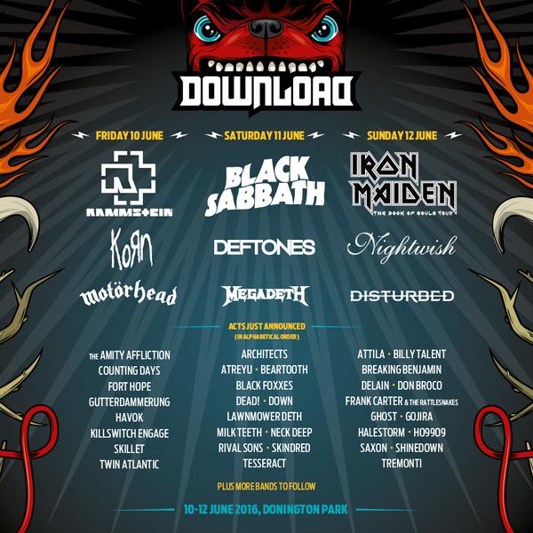 Download Festival 2016 December Announcement Line Up Poster