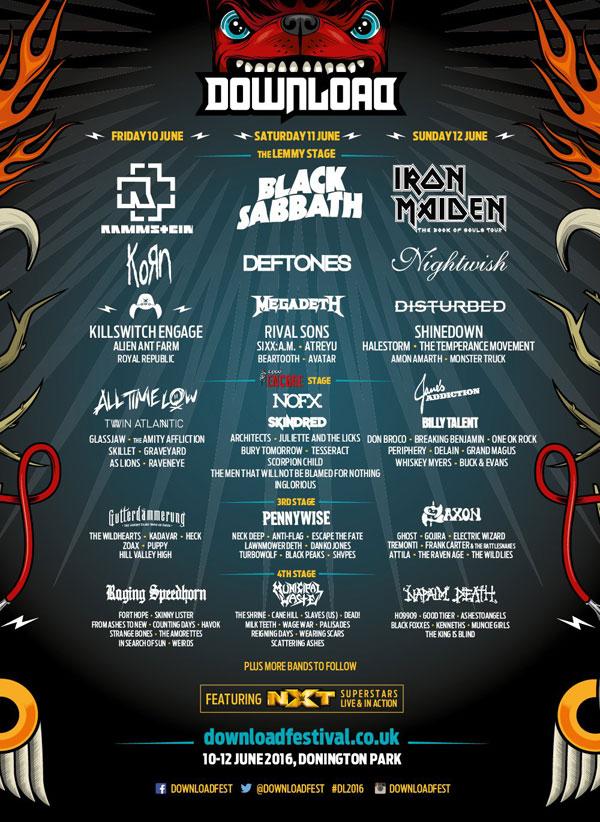 Download Festival 2016 Line Up Poster Mid April