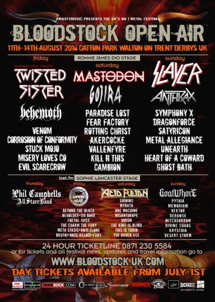 Bloodstock Open Air 2016 July Festival Poster