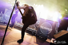 Shields on stage at UK Tech-Metal Fest 2016 10th July 2016