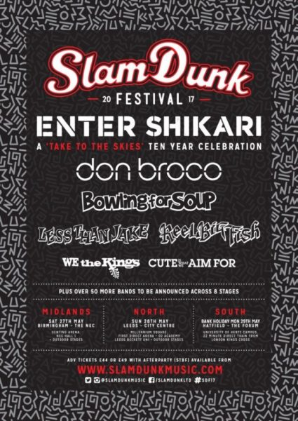 Slam Dunk Festival 2017 Second Line Up Poster Bowling For Soup Don Broco