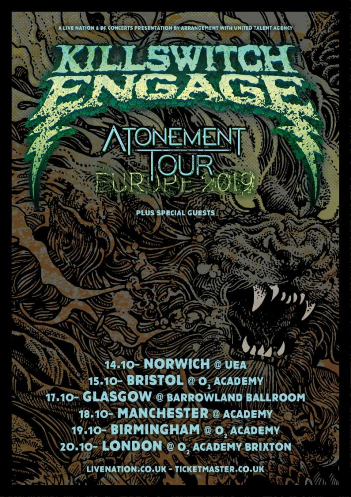 Killswitch Engage October 2019 UK Tour Poster