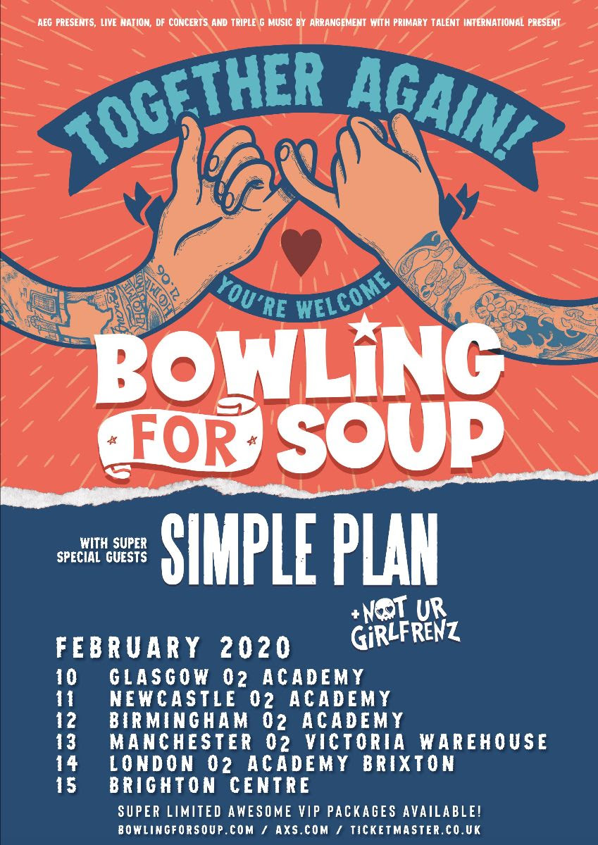 Together Again, You're Welcome - Bowling For Soup, Simple Plan, Not Ur Girlfrenz February 2020 UK Tour Poster