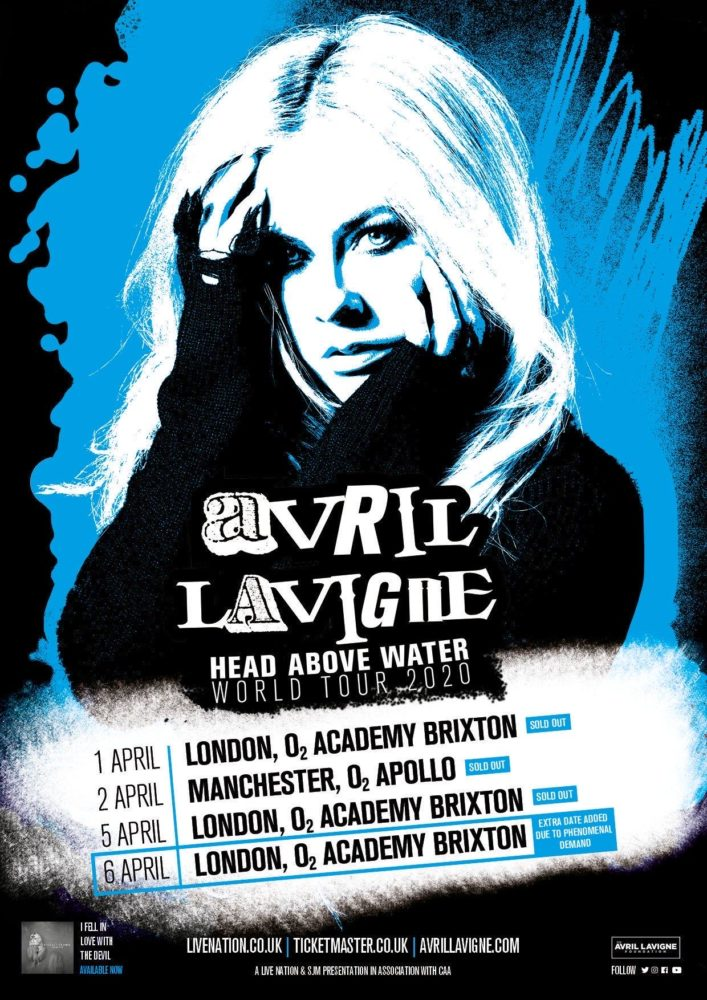 Avril Lavigne April 2020 UK Tour Poster Third Brixton Academy Show Added