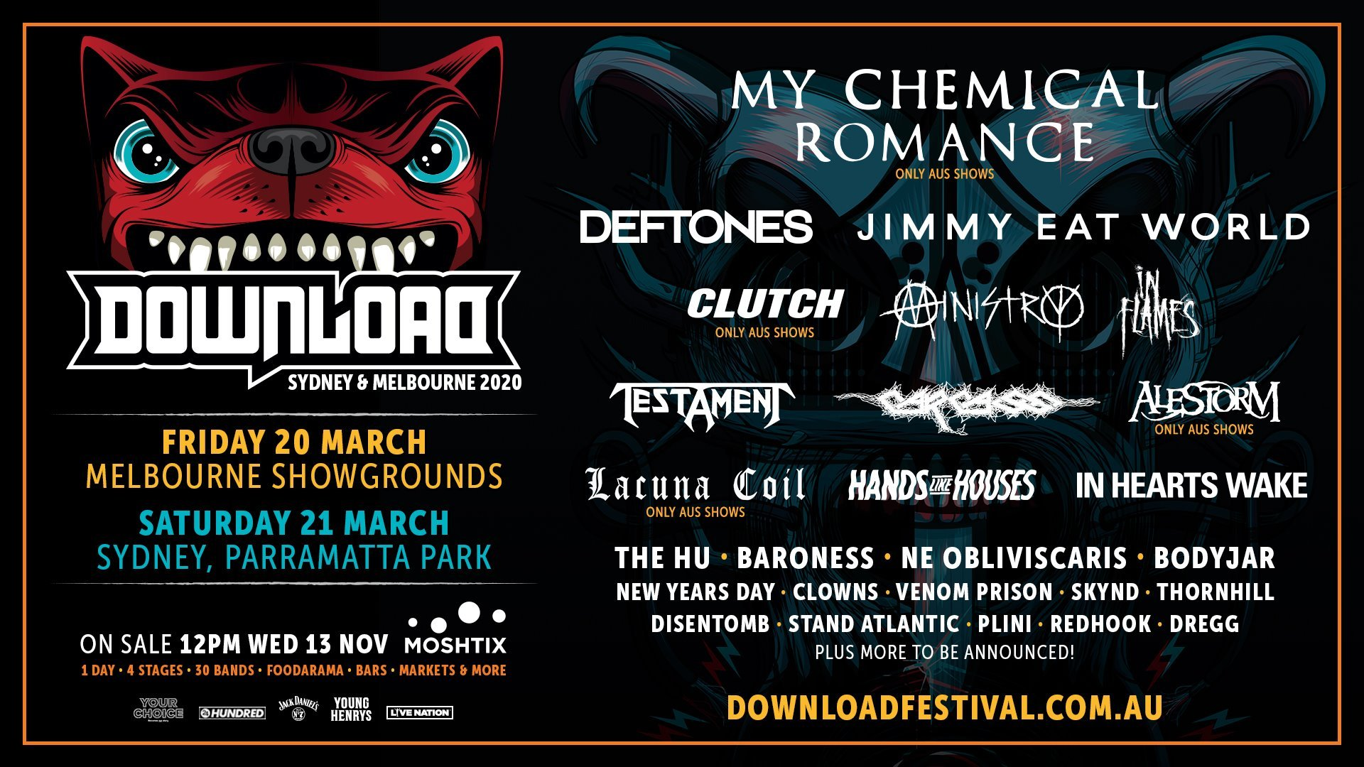 Download Festival 2020.Download Australia 2020 Headliners Are My Chemical Romance