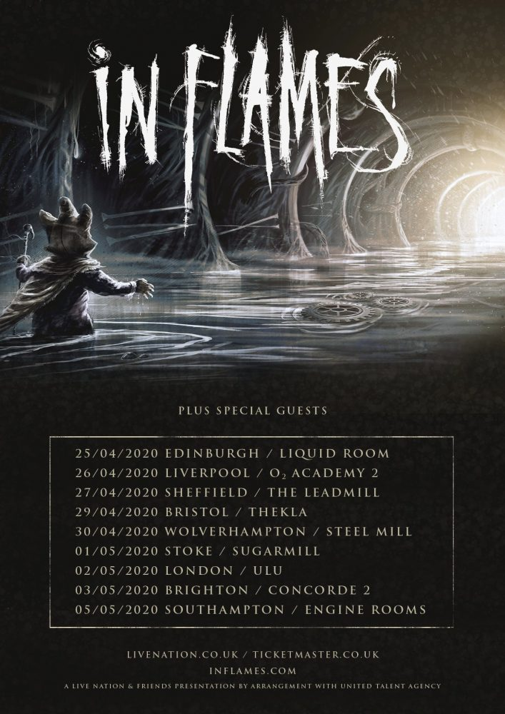 In Flames - April / May 2020 UK Tour Poster