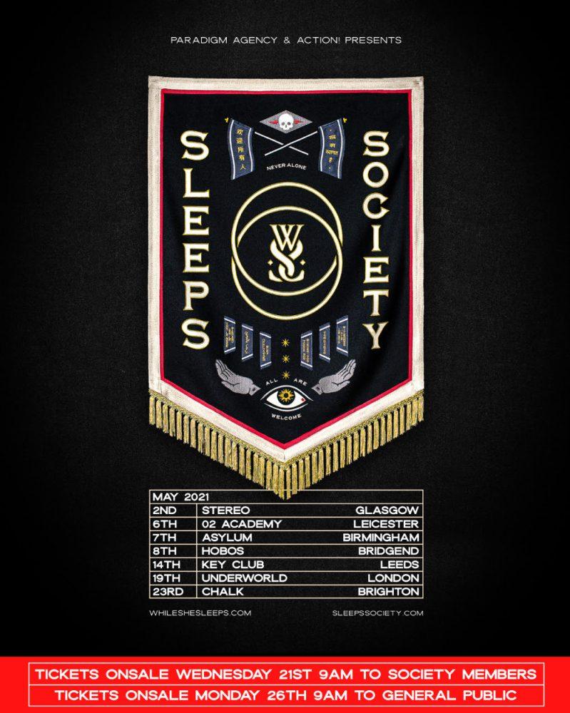 While She Sleeps May 2021 UK Tour Poster